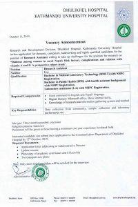 Research Assistant Kathmandu University Hospital