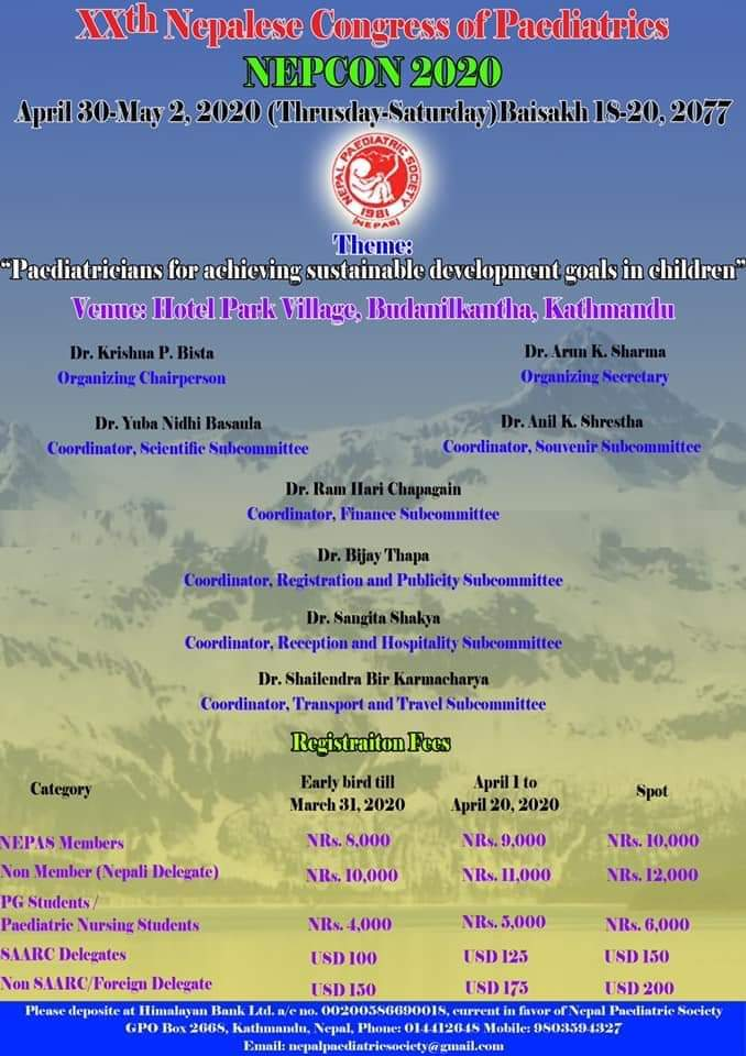 XXth Nepalese congress of Paediatrics April 30 to may 2 2020 — register