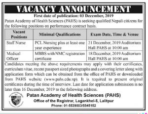 Medical Officer and Staff Nurse jobs at Patan Hospital
