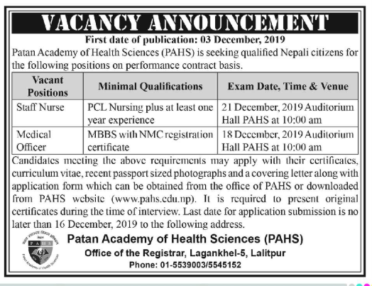 MPH, PCL and BNS admission at PAHS for 2074