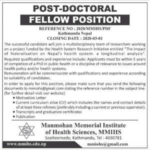 Post-doctoral Fellow in Manmohan Memorial