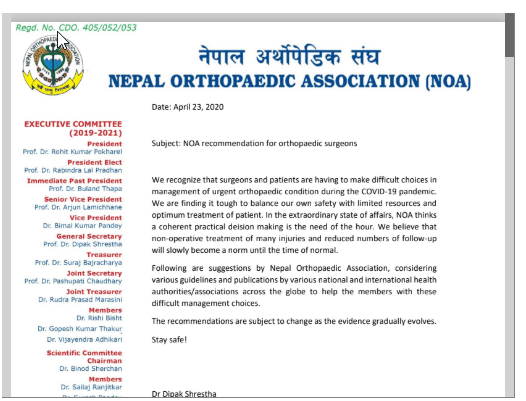 Nepal Orthopaedic Association NOA guideline For Doctors on COVID 19 pandemic