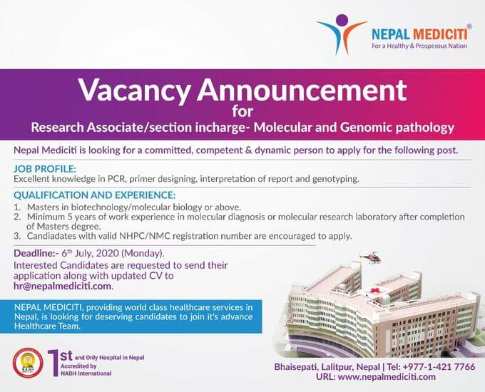 Research Associate Job at Mediciti Hospital