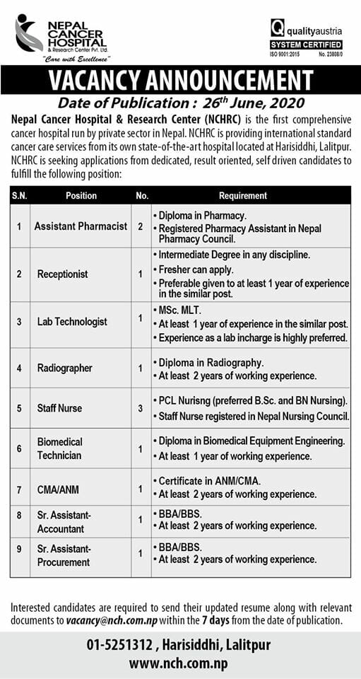 Apply For Multiple Medical Jobs at Nepal Cancer Hospital and Research Center