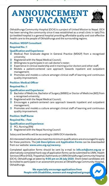 Nursing vacancy for Okhaldhunga Community Hospital