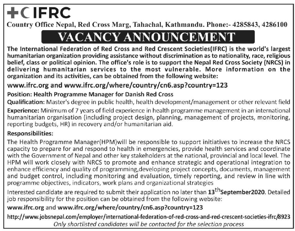 Health Program manager | public health jobs in Nepal Redcross(IFRC)